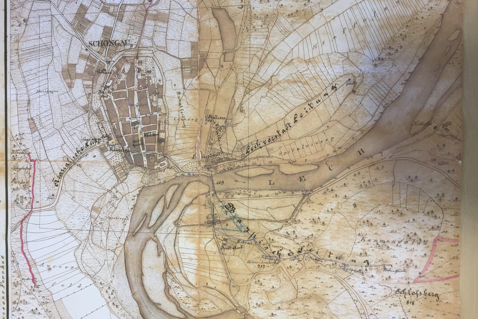 Handgezeichneter Papierplan C Stadtwerke Schongau