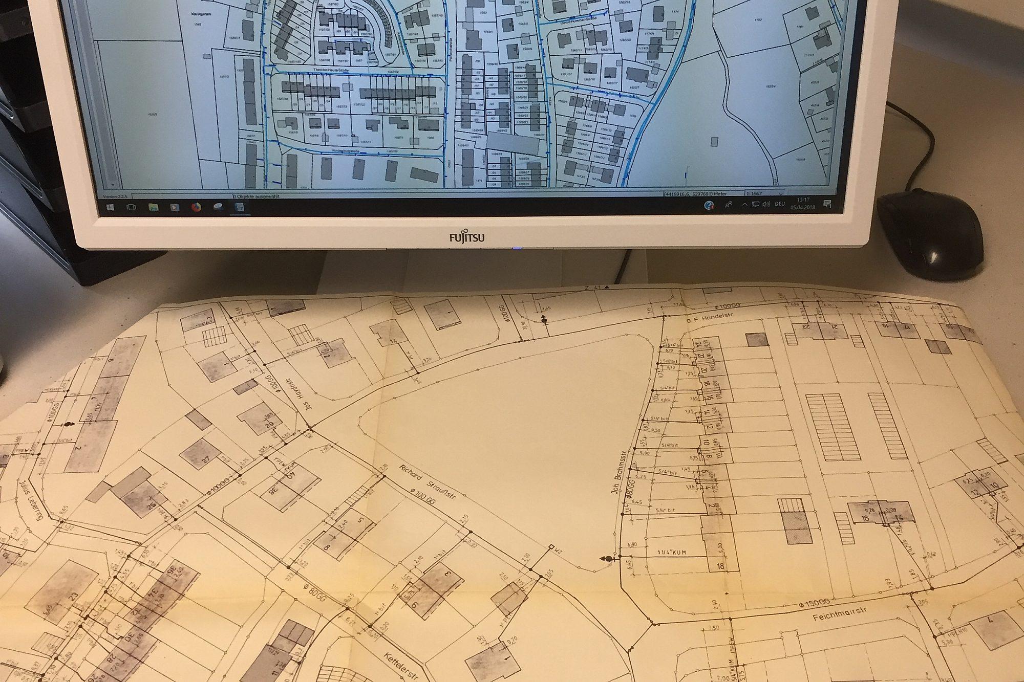 Plan Auf Papier Und Digitalisiert C Stadtwerke Schongau