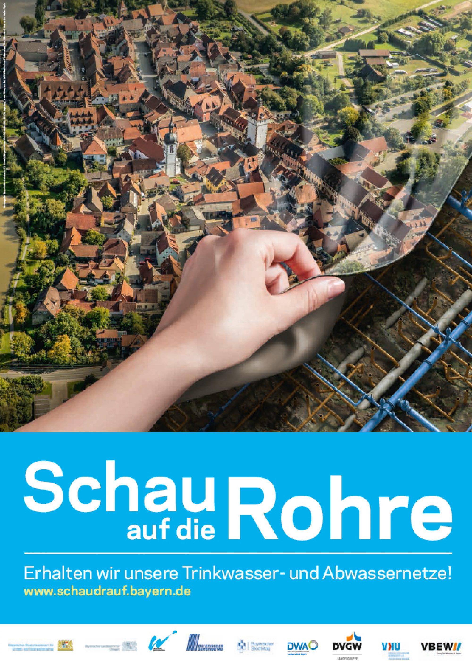 Ansicht Schau auf die Rohre-Plakat Kleinstadt